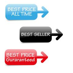 vector best seller tags with arrow
