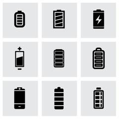 Vector black batery icon set