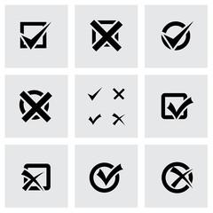Vector black check marks icon set