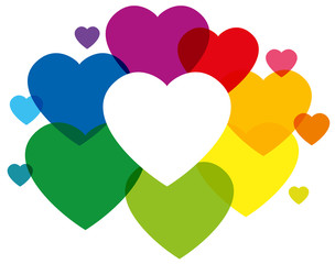 Rainbow Colored Hearts