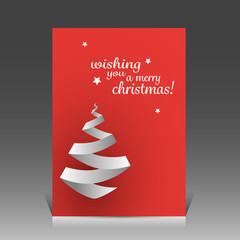 Origami Christmas Tree Card or Flyer Design Template