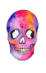 Fotorolgordijn Aquarel schedel skull watercolor illustration