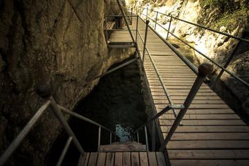 The new trail to traverse Sapadere Canyon and waterfall. Alanya,