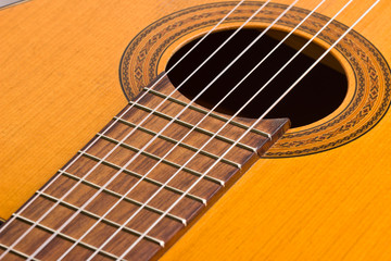 Musical background image of classical guitar