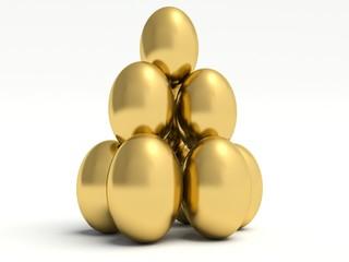 Pile of golden eggs. 3d render illustration.