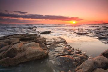 Seascape taken on Monknash beach in Glamorgan, Wales, UK.