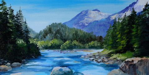 Oil Painting - mountain river, rocks and forest, abstract drawin
