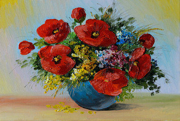 Oil Painting - bouquet of poppies and wildflowers in a vase