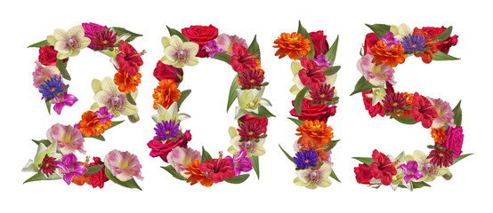 Happy New Year 2015 with many colorful flowers