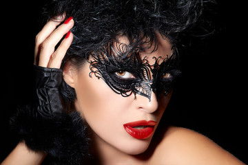 Masquerade. Closeup Short Hair Gorgeous Woman with Trendy Black