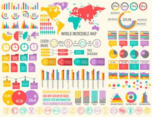 big business flat infographic elements set for design on blurred