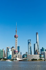 beautiful cityscape of Shanghai under the blue sky