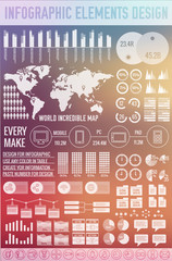 big business infographic elements set on blurred background. Col