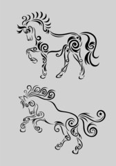 Horse set, art vector decoration