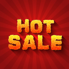 Fire hot sale text on a red background concept. Vector design co