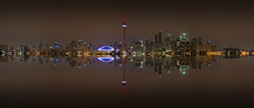 Toronto Skyline at night with a reflection, Canada