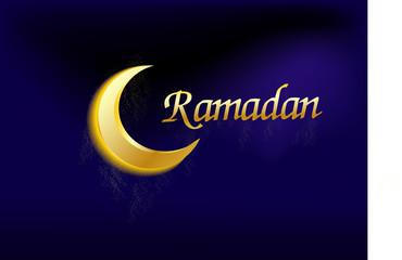 crescent moon with text ramadan