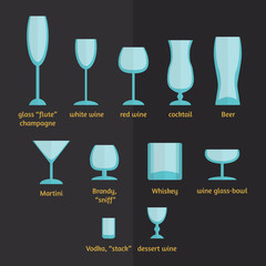 different types of glasses, stemware and glasses