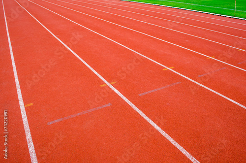 Fotobehang Athletic track with white line