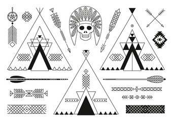 Collection of Native American tribal stylized elements for