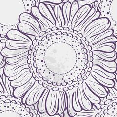 Seamless texture stylized sunflowers. purple contour