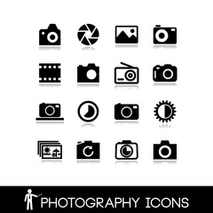 Photography, camera lens and accessories - Set icons 8