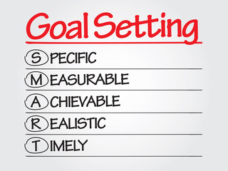 Hand writing SMART Goal Setting, presentation background