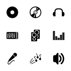 Vector black dj icon set