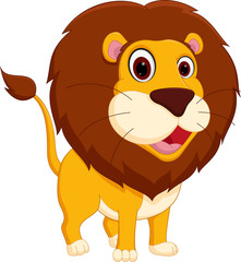 Cute lion cartoon standing