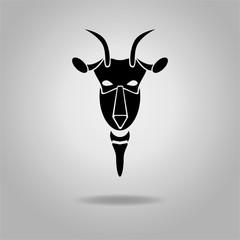 Black Goat Head Vector Design dark outline. New Year 2015
