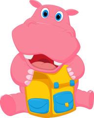 Happy hippo cartoon with school bag
