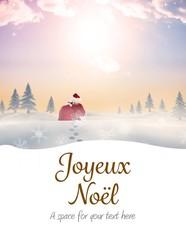 Photo sur Plexiglas Bleu clair Composite image of santa delivery presents to village