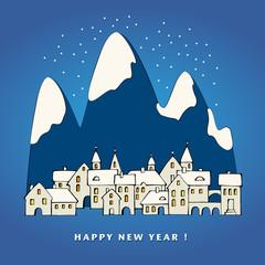 Happy New Year card design, vector