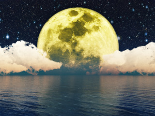 Moonlit Night.Elements Of This Image Furnished By Nasa.