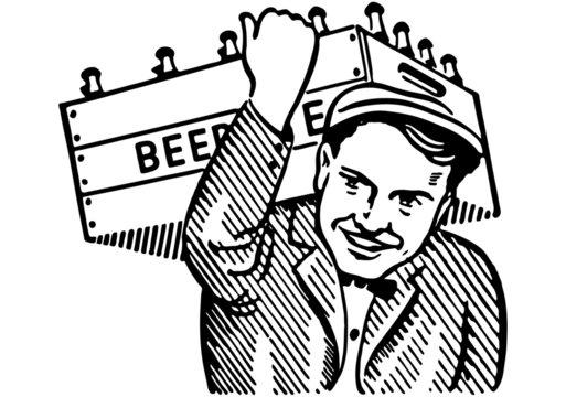 Man With Keg Of Beer