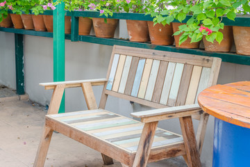 Multicolor painted wood bench in the garden