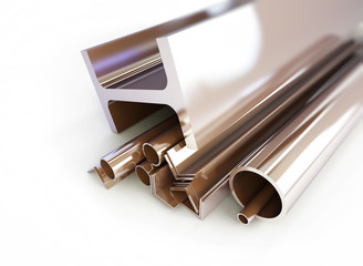 metal pipes, angles, squares on a white background