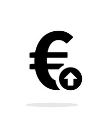 Euro exchange rate up icon on white background.