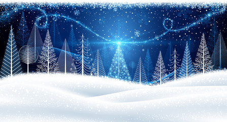 Christmas background with magic tree