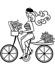 French Girl On Bike