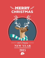 Festive reindeer with message vector