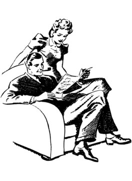 Couple Enjoying Magazine