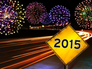 Happy New Year 2015 fireworks city cars highway