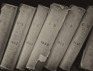 Old volume of library books