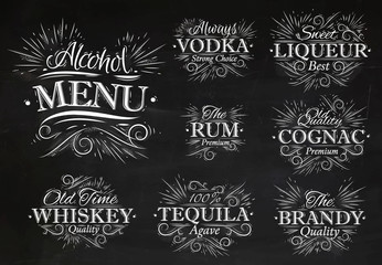 Set alcohol menu chalk