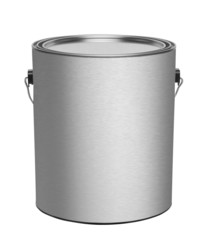 Metal gallon paint can with blank front  isolated