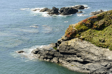 cliffs and sea at Lizard point, Cornwall
