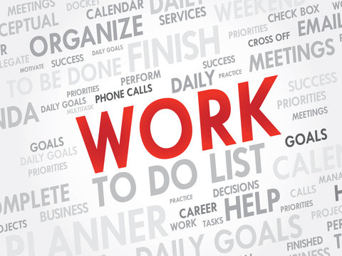 Word cloud of WORK related items, vector background