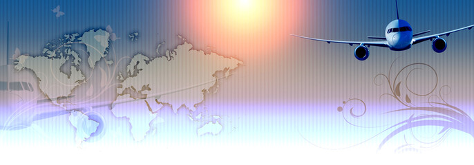 Futuristic background with world map and airplane.