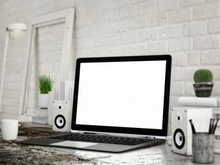 Mock UP laptop, white room background
